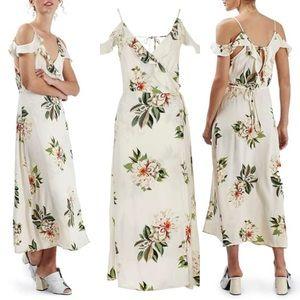 Topshop Floral Cold Shoulder Wrap Dress, Size 4